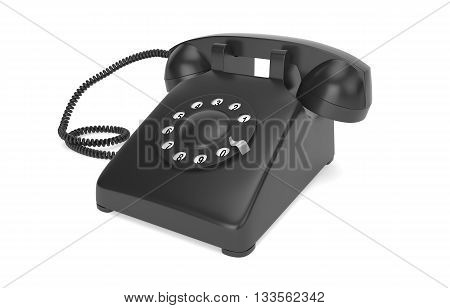 Black rotary phone isolated on white with clipping path, 3d rendering
