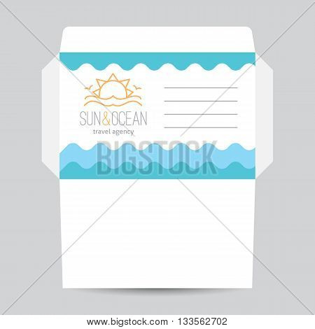 Envelope template with logo for travel agency. Sun, waves and seagulls, single line design
