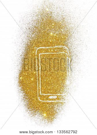 Smartphone of golden glitter on white background with place for your text