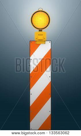 Yellow traffic warning lamp background, 3d rendering