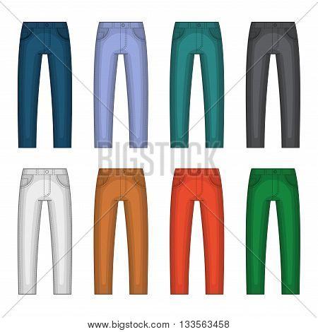 Denim Jeans Different Colors Set. Vector illustration