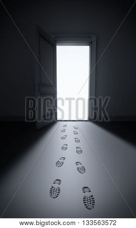 Burglary: footsteps in a house, 3d rendering
