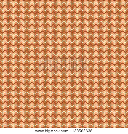 Abstract seamless geometric pattern. Horizontal wavy lines on the background of thin vertical stripes. Simple cute print in orange, brown, yellow colors. Vector illustration