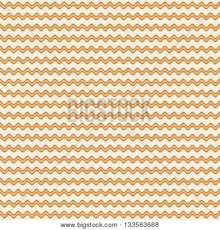 Abstract seamless geometric pattern of horizontal wavy triple lines. Simple endless print in orange and yellow colors. Vector illustration for fabric, paper and other