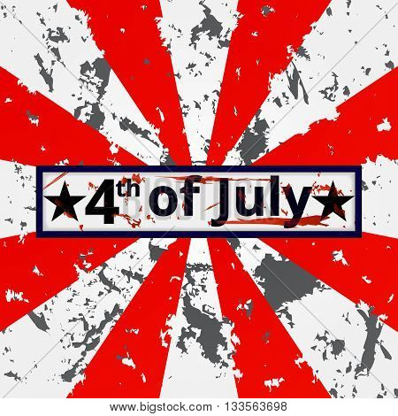 4th of July holiday grunge battle tattered vector background. Independence day background. American flag background.