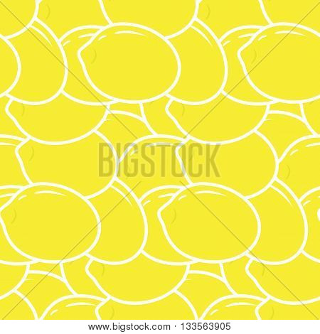 Seamless pattern with lemons on the white background. Vector illustration. Lemon seamless pattern