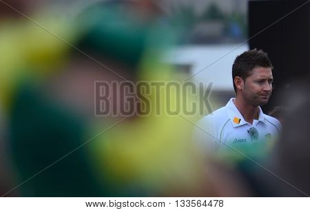 Sydney, Australia - Jan 7, 2015. The australian captain, Michael Clarke. Public meeting with the fans at Opera House. The australian cricket team won The Ashes in 2015. The Ashes is a Test cricket series played between England and Australia.