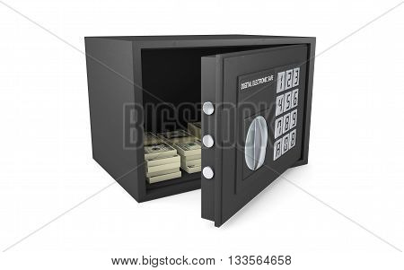 Open electronic safe isolated on white with clipping path, 3d rendering