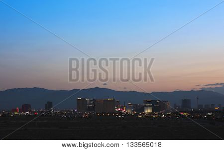 LAS VEGAS, NEVADA, MAY 24. Las Vegas Boulevard on May 24, 2016, in Las Vegas, Nevada. A view of the south end of Las Vegas Boulevard looking north just before sunrise in Las Vegas Nevada.