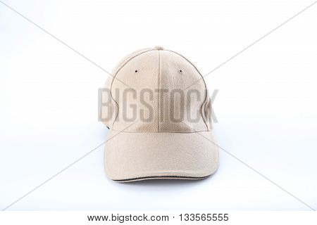 brown baseball cap on white background .