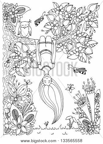 Vector illustration Zen Tangle girl hangs on a tree upside down. Doodle floral frame. Coloring book anti stress for adults. Black and white.