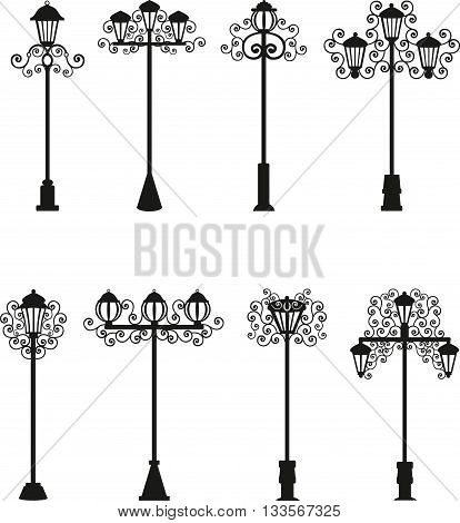 Lamps a vector of black color, street lighting, patterns on a lamppost, vintage lamps,