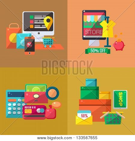 Shopping Four Illustrations Set. Cartoon Simple Style Shopping Objects Collection. Shopping Mall Related Items Vector Bright Color Illustration.