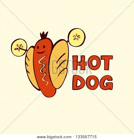 Hot Dog Logo For Eco Sport Life. Vector Logo For Fast Food.