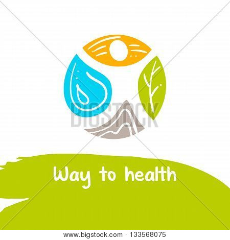 Way to health. Vector logo. Treatment and rest. Logo for the sanatorium of the resort. Therapy natural lekartsva. Human and nature. Health recovery.
