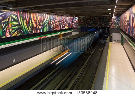 Santiago de Chile, Chile - November 28, 2015: Train arrived at subway station Parque Bustamante.