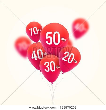 Balloons Discount. SALE concept for shop market store advertisement commerce. Market discount, red baloon, sale balloons. Vector business concept