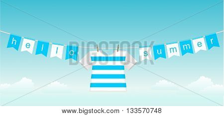 Flags with the inscription hello summer and vest on a background of blue clear sky and white clouds