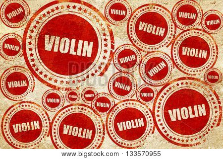 violin, red stamp on a grunge paper texture