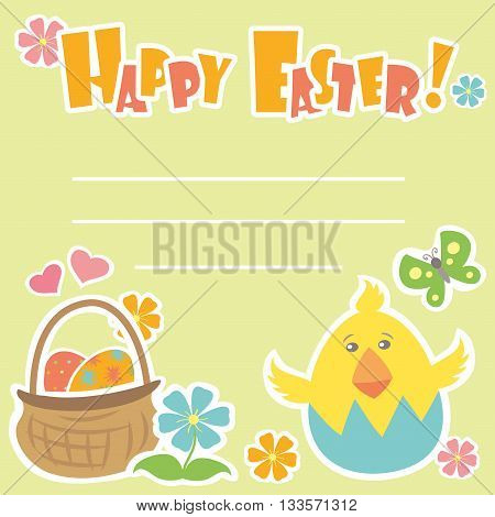 Easter Background with basket with colorful eggs and a chick place for text vector illustration