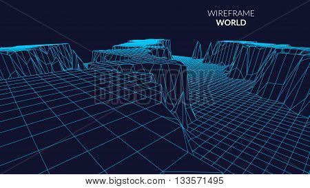 Wireframe Landscape mountain  Background. Futuristic Landscape with line Grid. Low Poly 3D Wireframe Mapping. Network Cyber Technology background.