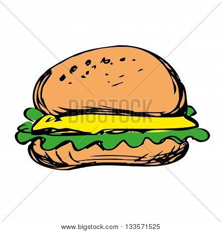 cheeseburger with onion lettuce and sauces in bun. hamburger hand drawn vector on white