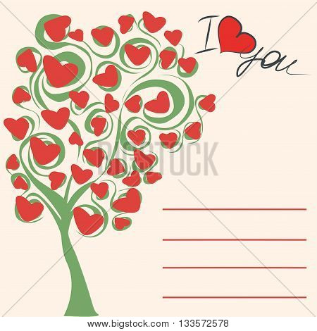 Greeting card love tree the inscription I love you and place for an inscription vector illustration