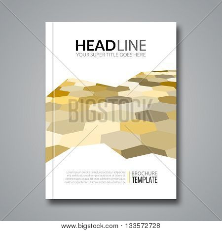 Hexagonal backround business flyer brochure template. Colorful hexagons.