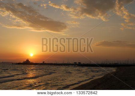 Sunset view from St Kilda Beach, Melbourne, Australia