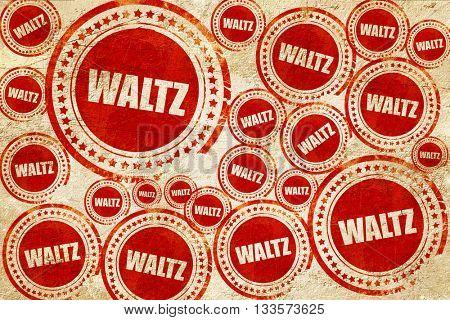 waltz dance, red stamp on a grunge paper texture