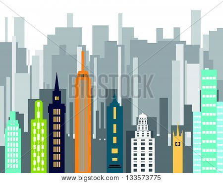 Cityscape background Downtown with skyscrapers.Building vector color. City design elements color.Flat design vector.