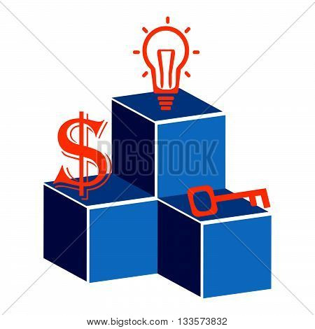 Business plan in a sphere operations financial planning.Marketing plan Vector illustration.