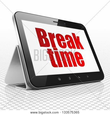 Time concept: Tablet Computer with red text Break Time on display, 3D rendering