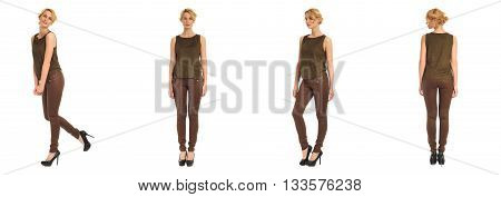 Young And Beautiful Woman In Brown Leather Pants Isolated
