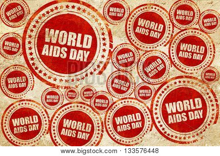 world aids day, red stamp on a grunge paper texture