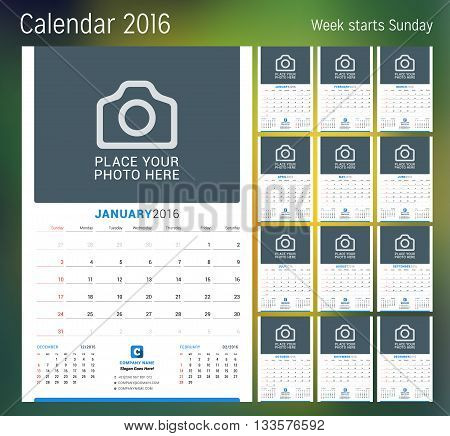 Calendar For 2016 Year. Vector Design Print Template With Place For Photo. Week Starts Sunday. Set O