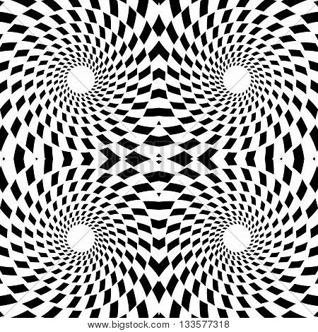 Vector seamless texture of black and white psychedelic concentric circles. Optical illusion