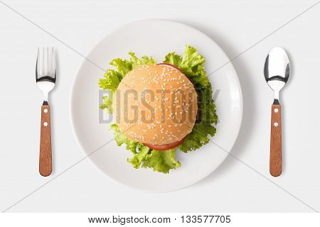 Eating Bbq Burger On Dish Isolated On White Background. Clipping Path Included Isolated On White Bac