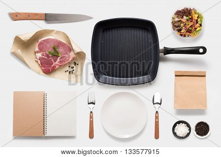 Design Concept Of Mockup Bbq Steak Set Isolated On White Background. Copy Space For Text And Logo. C