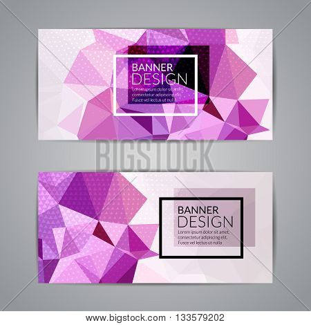 Set of purple polygonal triangular colorful background banners poster booklet for modern design, youth graphic concept.