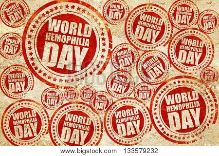 world hemophilia day, red stamp on a grunge paper texture