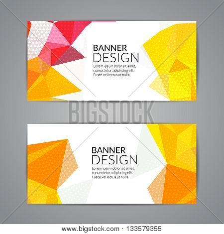 Set of yellow polygonal triangular colorful background banners poster booklet for modern design, youth graphic concept.