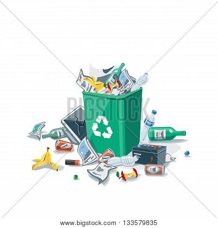 Littering waste trash that has been disposed of improperly the green dust bin. Isolated vector illustration on white background. Garbage can is full of trash. Trash is fallen on the ground.