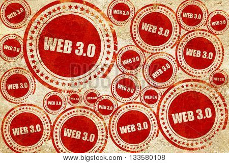 web 3.0, red stamp on a grunge paper texture