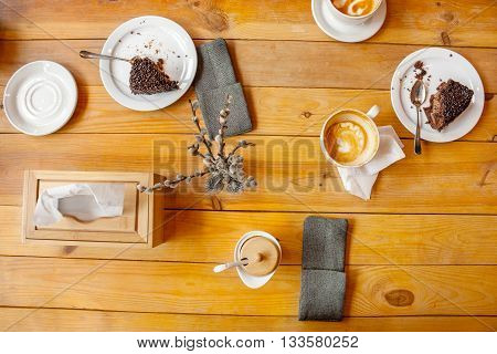 image coffee and chocolate cake for dessert on a wooden table