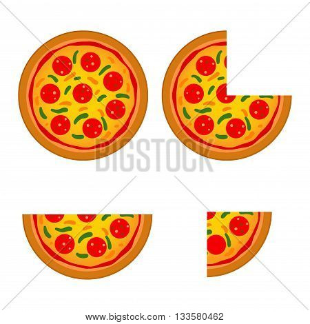 Vector stock of italian pizza with different size and slice