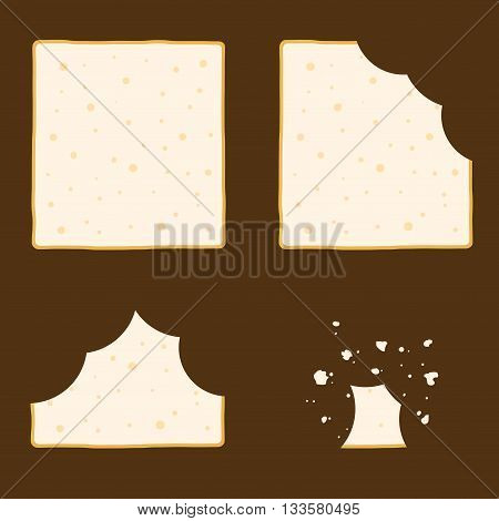 Vector stock of slice of bread in different eating stages