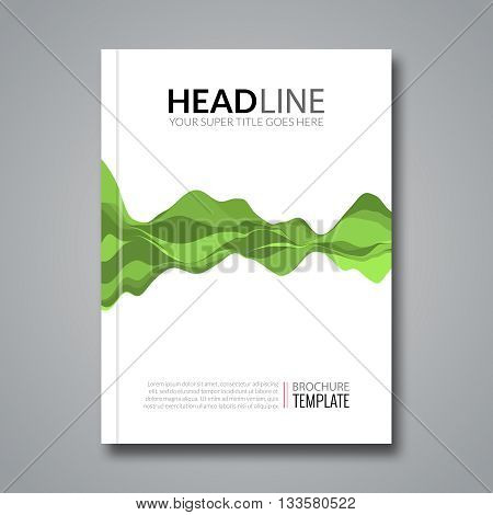 Flyer template green musical wave background. Vector sound wave element brochure layout.