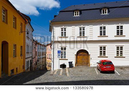 OLOMOUC, CZECH REPUBLIC - JUNE 04, 2016: Street of the old town of Olomouc, Czech Republic on June 04, 2016.