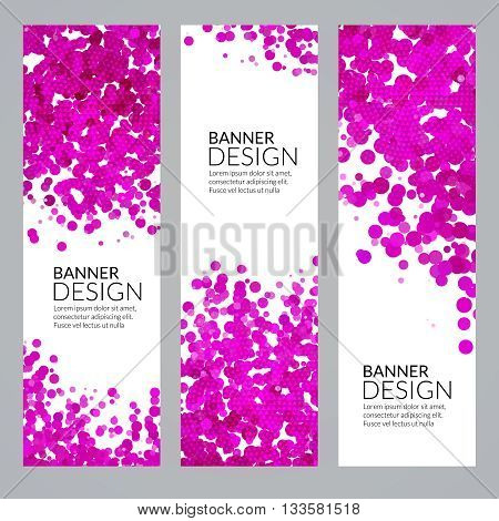 Set of Vector Vertical Poster Banners Templates with Pink Dots Watercolor simulation Paint Splash. Abstract Background for Business Documents, Flyers and Placards.